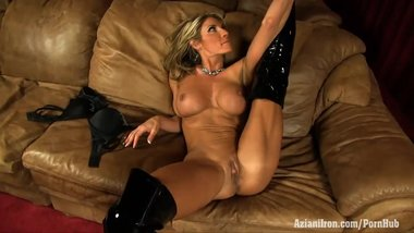 Abby Marie fitness MILF strips out of bra and panties