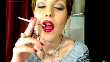 TWISTED_GODESS - Red Lipstick & 120's smoking fetish tease