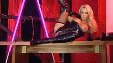 Blonde British MILF Teasing in Black Leather Boots and Black Lingerie