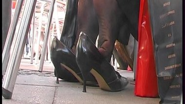Stocking-Toes Curl In Her Pumps