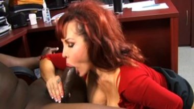 Hot stud gets his dick sucked off by sexy redhead MILF then creams her