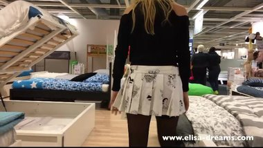 Upskirt and flashing no panties in a famous shop 3
