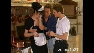 Smoking hot German maid is getting doublefucked in the kitchen