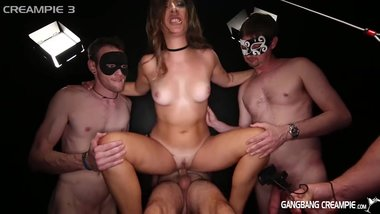 Sexy Brunette Gets fucks by 5 strangers wearing masks