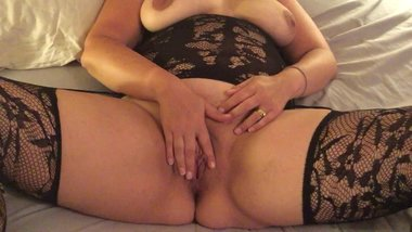 Horny milf fingers herself for her husbands pleasure