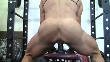Hot Muscle Milf Fucks Dildo In The Gym